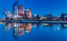 Haag, Niederlande, Stadt Nacht, Fluss, Wasser Reflexion, Lichter
