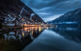 Hallstatt, noche, lago, reflejo del agua, montañas, Austria