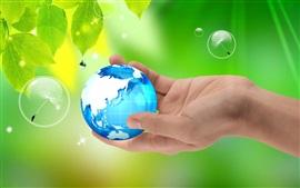预览壁纸 手,地球,绿叶,水滴
