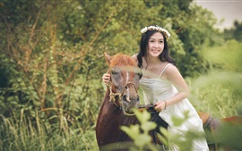 Preview wallpaper Happy Asian girl, wreath, horse