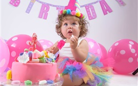 Preview wallpaper Happy Birthday, child girl, cake, balloons