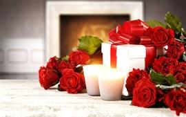 Vorschau des Hintergrundbilder Glücklicher Valentinstag, rote Rosen, Kerzen, Geschenke