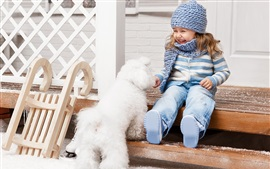 Preview wallpaper Happy little girl and white dog