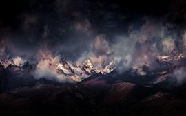 壁紙のプレビュー ヒマラヤ山脈、雲、山々、夕暮れ