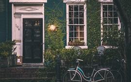 Casa, porta, janela, lâmpada, bicicleta, plantas, crepúsculo