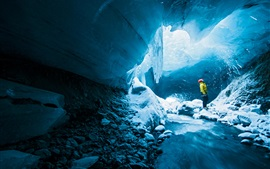 Preview wallpaper Ice cave, man, adventure