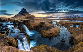 Preview wallpaper Iceland, Peninsula, waterfall, Kirkjufell mountain