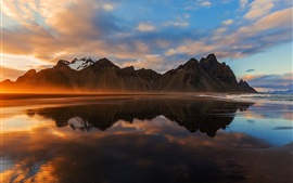 Preview wallpaper Iceland, mountains, sea, clouds, sunset, water reflection