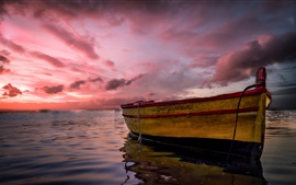 Preview wallpaper Italy, Marzamemi, Sicily, sea, boat, clouds, sunset