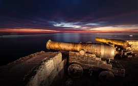 Preview wallpaper Italy, Puglia, Monopoli town, artillery, night