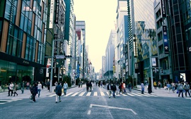 Preview wallpaper Japan, Tokyo, urban scene, buildings, street, people