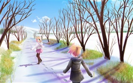 Alegría chicas anime caminar en el camino de invierno, nieve, árboles