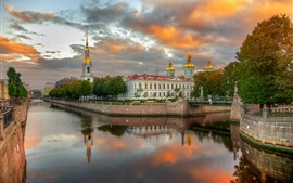 Preview wallpaper Kryukov canal, Saint Petersburg, houses, clouds, Russia