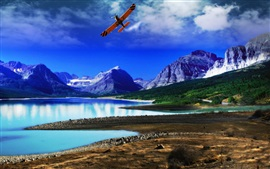 Lake, mountains, forest, coast, blue sky, plane