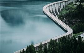 Lake, water, dam, road