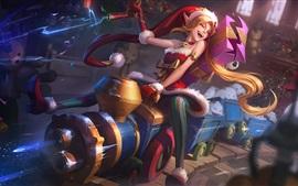 Лига Легенд, красивая девушка эльфа, Рождество, подарки, поезд, художественная фотография