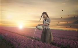 Preview wallpaper Little girl watering flowers at sunset
