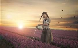Menina, molhar, flores, pôr do sol