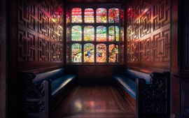 Preview wallpaper London, England, window, stained glass, bench