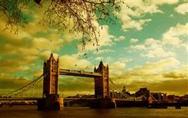 Londres, Tower Bridge, rio, verão, Inglaterra