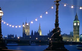 London, bridge, river, night, lights, UK