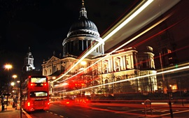 London, city night, road, light lines, bus, buildings