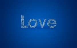 Love, blue background