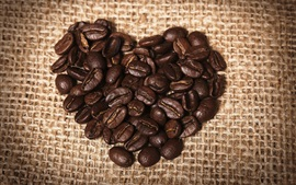 Preview wallpaper Love heart coffee beans, burlap
