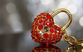 Love heart lock, decoración de diamantes