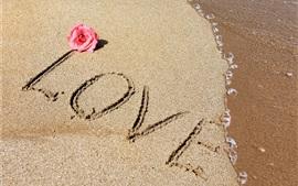 Preview wallpaper Love, text, beach, sea, sands