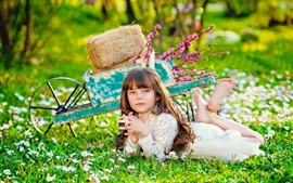 Preview wallpaper Lovely child girl, grass, car, hay, summer