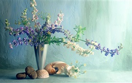 Lupines flores, jarrón, concha, resplandor
