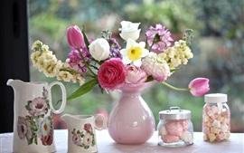 Aperçu fond d'écran Beaucoup de sortes de fleurs, vase, pot