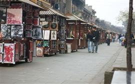 Mercado, pessoas, rua, China