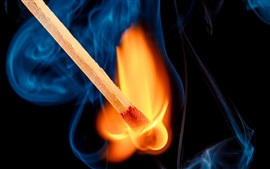 Matches, blue smoke, flame