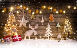 Preview wallpaper Merry Christmas, decoration, tree, deer, lights, gifts