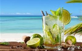 미리보기 배경 화면 모히토, 라임, 민트, 차가운 음료, 칵테일, 바다