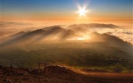 Morning, hills, sunrise, fog, people