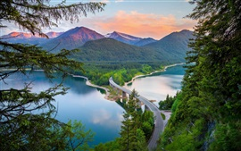 Preview wallpaper Mountains, bridge, river, forest, summer