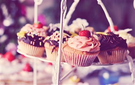 Muffins, cakes, cream, strawberry, chocolate