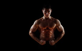 Preview wallpaper Muscular, bodybuilder, abdominals, sweat, man, black background