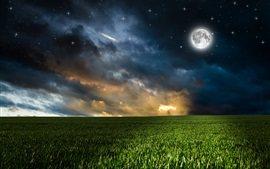 Preview wallpaper Nature, fields, clouds, moon, stars, night
