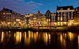 Preview wallpaper Netherlands, Amsterdam, houses, river, lights, night