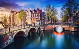 Preview wallpaper Netherlands, Amsterdam, river, bridge, trees, houses, city