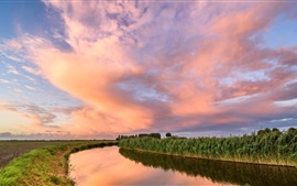 Preview wallpaper Netherlands, fields, river, clouds, dusk, sunset