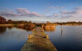 Preview wallpaper Netherlands, pier, bridge, reeds, river, clouds, autumn