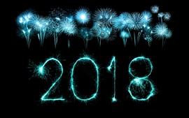 Aperçu fond d'écran Nouvel an des feux d'artifice 2018, nuit, ciel