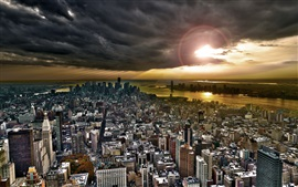 Nova Iorque, vista superior da cidade, edifícios, pôr do sol, nuvens, rio, EUA