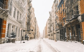Preview wallpaper New York in winter, snow, street, buildings, USA
