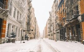 壁紙のプレビュー ニューヨーク、冬、雪、通り、建物、アメリカ